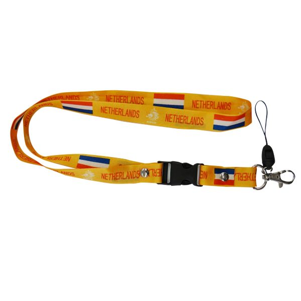 "NETHERLANDS HOLLAND YELLOW BACKGROUND COUNTRY FLAG LANYARD KEYCHAIN PASSHOLDER NECKSTRAP .. CLASP AT THE END .. 20"" INCHES LONG .. HIGH QUALITY .. NEW"