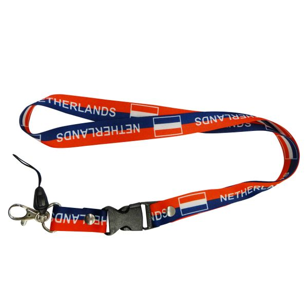 "NETHERLANDS HOLLAND BLUE RED BACKGROUND COUNTRY FLAG LANYARD KEYCHAIN PASSHOLDER NECKSTRAP .. CLASP AT THE END .. 20"" INCHES LONG .. HIGH QUALITY .. NEW"
