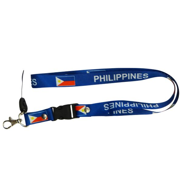 "PHILIPPINES COUNTRY FLAG LANYARD KEYCHAIN PASSHOLDER NECKSTRAP .. CLASP AT THE END .. 20"" INCHES LONG .. HIGH QUALITY .. NEW"