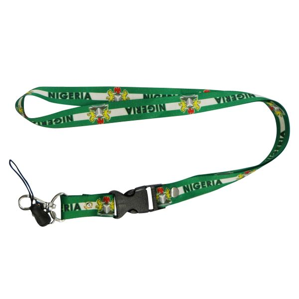 "NIGERIA COUNTRY FLAG LANYARD KEYCHAIN PASSHOLDER NECKSTRAP .. CLASP AT THE END .. 20"" INCHES LONG .. HIGH QUALITY .. NEW"