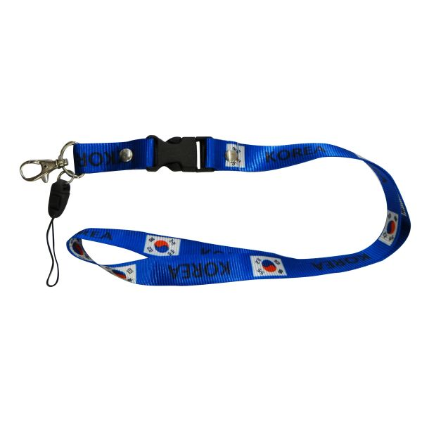 "KOREA COUNTRY FLAG LANYARD KEYCHAIN PASSHOLDER NECKSTRAP .. CLASP AT THE END .. 20"" INCHES LONG .. HIGH QUALITY .. NEW"