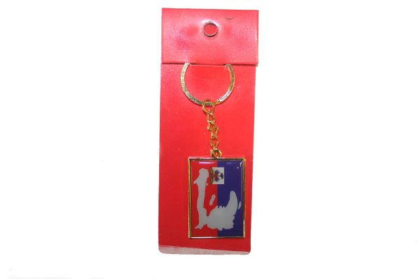 HAITI SQUARE SHAPE FLAG METAL KEYCHAIN .. NEW AND IN A PACKAGE