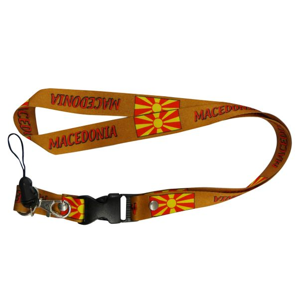 "MACEDONIA COUNTRY FLAG LANYARD KEYCHAIN PASSHOLDER NECKSTRAP .. CLASP AT THE END .. 20"" INCHES LONG .. HIGH QUALITY .. NEW"