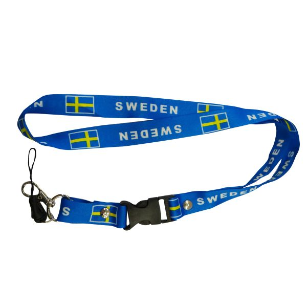 "SWEDEN COUNTRY FLAG LANYARD KEYCHAIN PASSHOLDER NECKSTRAP .. CLASP AT THE END .. 20"" INCHES LONG .. HIGH QUALITY .. NEW"
