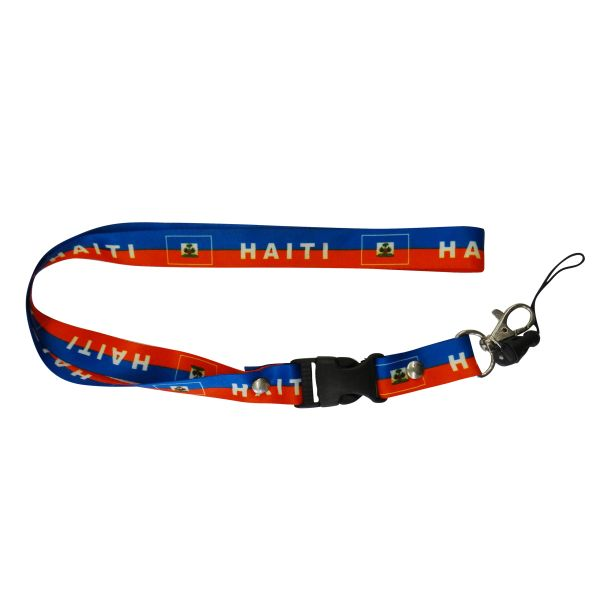 "HAITI COUNTRY FLAG LANYARD KEYCHAIN PASSHOLDER NECKSTRAP .. CLASP AT THE END .. 20"" INCHES LONG .. HIGH QUALITY .. NEW"