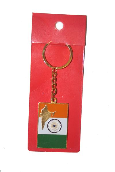 INDIA SQUARE SHAPE FLAG METAL KEYCHAIN .. NEW AND IN A PACKAGE