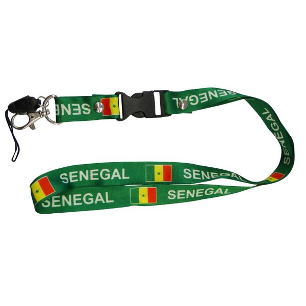 "SENEGAL COUNTRY FLAG LANYARD KEYCHAIN PASSHOLDER NECKSTRAP .. CLASP AT THE END .. 20"" INCHES LONG .. HIGH QUALITY .. NEW"