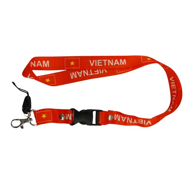 "VIETNAM COUNTRY FLAG LANYARD KEYCHAIN PASSHOLDER NECKSTRAP .. CLASP AT THE END .. 20"" INCHES LONG .. HIGH QUALITY .. NEW"