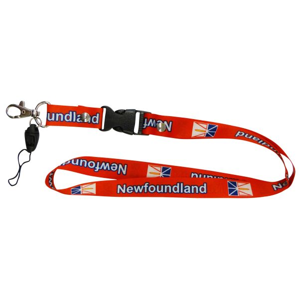 "NEWFOUNDLAND CANADA PROVINCIAL FLAG LANYARD KEYCHAIN PASSHOLDER NECKSTRAP .. CLASP AT THE END .. 20"" INCHES LONG .. HIGH QUALITY .. NEW"