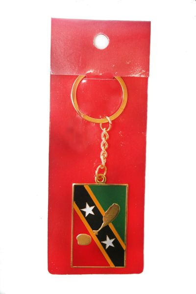 ST. KITTS & NEVIS SQUARE SHAPE FLAG METAL KEYCHAIN .. NEW AND IN A PACKAGE