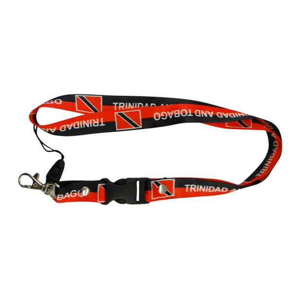 "TRINIDAD & TOBAGO COUNTRY FLAG LANYARD KEYCHAIN PASSHOLDER NECKSTRAP .. CLASP AT THE END .. 20"" INCHES LONG .. HIGH QUALITY .. NEW"