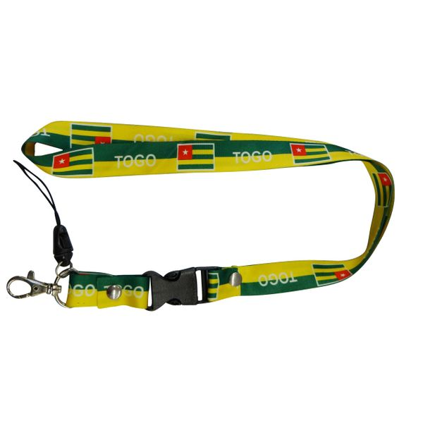"TOGO COUNTRY FLAG LANYARD KEYCHAIN PASSHOLDER NECKSTRAP .. CLASP AT THE END .. 20"" INCHES LONG .. HIGH QUALITY .. NEW"