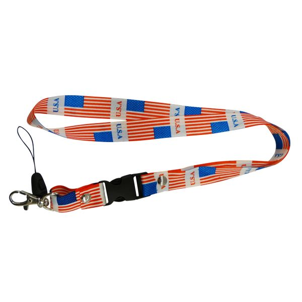 "USA COUNTRY FLAG LANYARD KEYCHAIN PASSHOLDER NECKSTRAP .. CLASP AT THE END .. 20"" INCHES LONG .. HIGH QUALITY .. NEW"