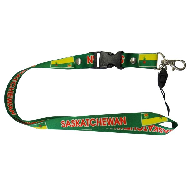 "SASKATCHEWAN CANADA PROVINCIAL FLAG LANYARD KEYCHAIN PASSHOLDER NECKSTRAP .. CLASP AT THE END .. 20"" INCHES LONG .. HIGH QUALITY .. NEW"