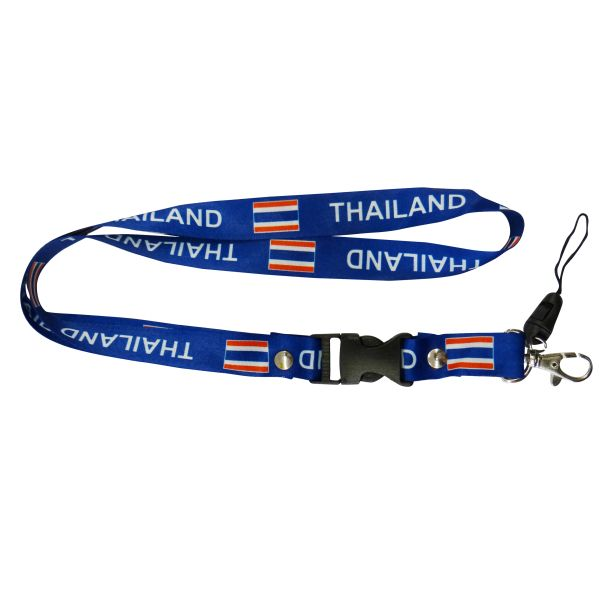 "THAILAND COUNTRY FLAG LANYARD KEYCHAIN PASSHOLDER NECKSTRAP .. CLASP AT THE END .. 20"" INCHES LONG .. HIGH QUALITY .. NEW"
