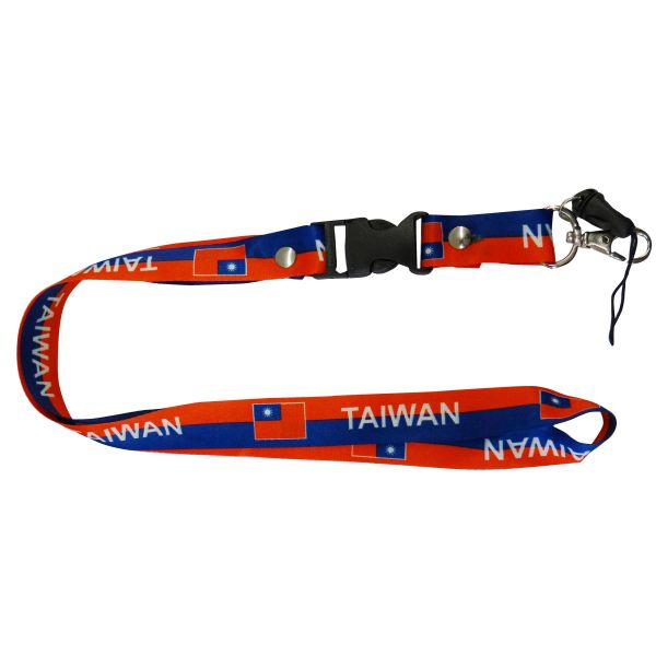 "TAIWAN COUNTRY FLAG LANYARD KEYCHAIN PASSHOLDER NECKSTRAP .. CLASP AT THE END .. 20"" INCHES LONG .. HIGH QUALITY .. NEW"