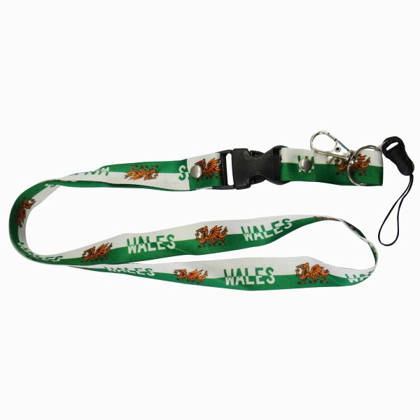"WALES COUNTRY FLAG LANYARD KEYCHAIN PASSHOLDER NECKSTRAP .. CLASP AT THE END .. 20"" INCHES LONG .. HIGH QUALITY .. NEW"