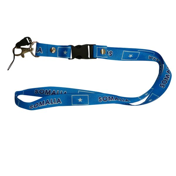 "SOMALIA COUNTRY FLAG LANYARD KEYCHAIN PASSHOLDER NECKSTRAP .. CLASP AT THE END .. 20"" INCHES LONG .. HIGH QUALITY .. NEW"