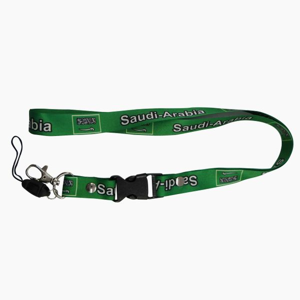 "SAUDI ARABIA COUNTRY FLAG LANYARD KEYCHAIN PASSHOLDER NECKSTRAP .. CLASP AT THE END .. 20"" INCHES LONG .. HIGH QUALITY .. NEW"