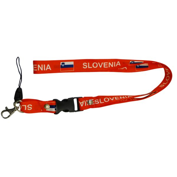 "SLOVENIA COUNTRY FLAG LANYARD KEYCHAIN PASSHOLDER NECKSTRAP .. CLASP AT THE END .. 20"" INCHES LONG .. HIGH QUALITY .. NEW"