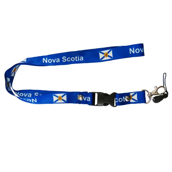 "NOVA SCOTIA CANADA PROVINCIAL FLAG LANYARD KEYCHAIN PASSHOLDER NECKSTRAP .. CLASP AT THE END .. 20"" INCHES LONG .. HIGH QUALITY .. NEW"
