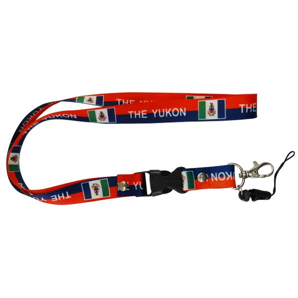 "YUKON CANADA TERRITORY FLAG LANYARD KEYCHAIN PASSHOLDER NECKSTRAP .. CLASP AT THE END .. 20"" INCHES LONG .. HIGH QUALITY .. NEW"