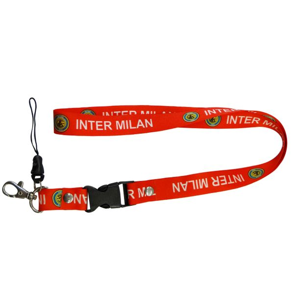 "INTER MILAN LOGO FIFA SOCCER WORLD CUP LANYARD KEYCHAIN PASSHOLDER NECKSTRAP .. CLASP AT THE END .. 20"" INCHES LONG .. HIGH QUALITY .. NEW"