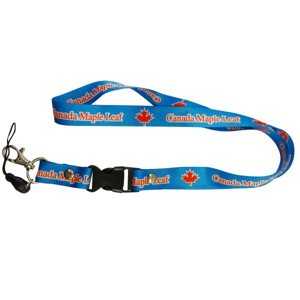 "CANADA MAPLE LEAF LANYARD KEYCHAIN PASSHOLDER NECKSTRAP .. CLASP AT THE END .. 20"" INCHES LONG .. HIGH QUALITY .. NEW"