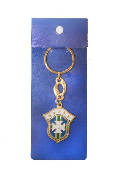 BRASIL 5 STARS CBF LOGO FIFA SOCCER WORLD CUP METAL KEYCHAIN .. NEW AND IN A PACKAGE