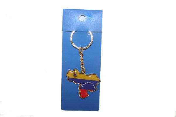 VENEZUELA COUNTRY SHAPE FLAG METAL KEYCHAIN .. NEW AND IN A PACKAGE