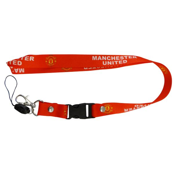 """MANCHESTER UNITED LOGO SOCCER LANYARD KEYCHAIN PASSHOLDER NECKSTRAP .. CLASP AT THE END .. 20"""" INCHES LONG .. HIGH QUALITY .. NEW"""
