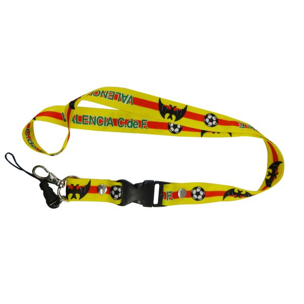 """VALENCIA C.de F. LOGO SOCCER LANYARD KEYCHAIN PASSHOLDER NECKSTRAP .. CLASP AT THE END .. 20"""" INCHES LONG .. HIGH QUALITY .. NEW"""