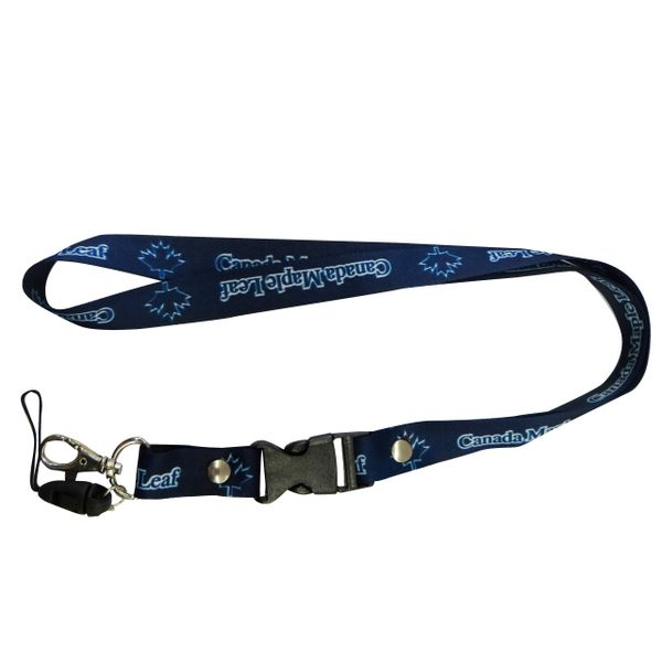 """CANADA MAPLE LEAF"" BLUE BACKGOUND LANYARD KEYCHAIN PASSHOLDER NECKSTRAP .. CLASP AT THE END .. 20"" INCHES LONG .. HIGH QUALITY .. NEW"