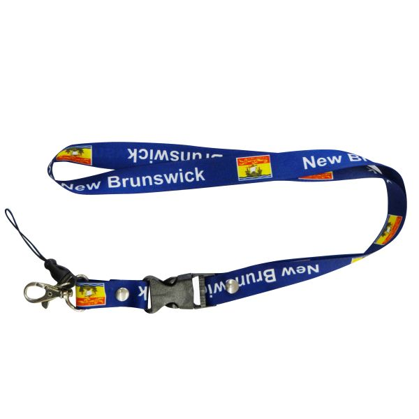 "NEW BRUNSWICK CANADA PROVINCIAL FLAG LANYARD KEYCHAIN PASSHOLDER NECKSTRAP .. CLASP AT THE END .. 20"" INCHES LONG .. HIGH QUALITY .. NEW"