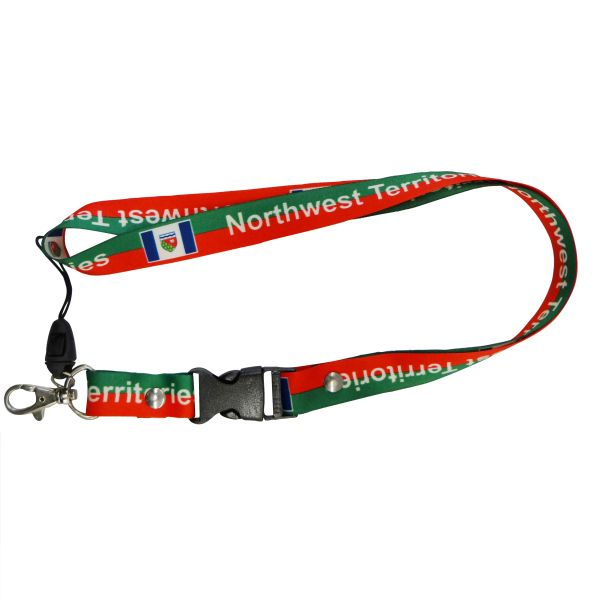 "NORTHWEST TERRITORY FLAG LANYARD KEYCHAIN PASSHOLDER NECKSTRAP .. CLASP AT THE END .. 20"" INCHES LONG .. HIGH QUALITY .. NEW"