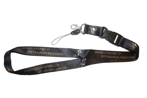 "SYDNEY CROSBY 87 PITTSBURGH PENGUINS NHL HOCKEY LOGO LANYARD KEYCHAIN PASSHOLDER NECKSTRAP .. CLASP AT THE END .. 20"" INCHES LONG .. HIGH QUALITY .. NEW"