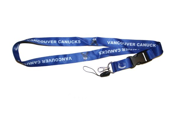 "VANCOUVER CANUCKS NHL HOCKEY LOGO LANYARD KEYCHAIN PASSHOLDER NECKSTRAP .. CLASP AT THE END .. 20"" INCHES LONG .. HIGH QUALITY .. NEW"