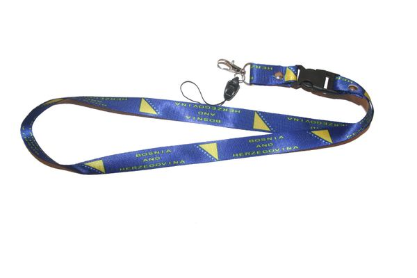 "BOSNIA & HERZEGOVINA COUNTRY FLAG LANYARD KEYCHAIN PASSHOLDER NECKSTRAP .. CLASP AT THE END .. 20"" INCHES LONG .. HIGH QUALITY .. NEW"