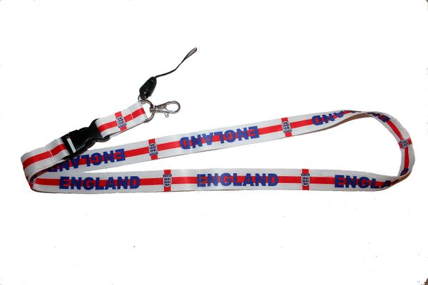 "ENGLAND 3 LIONS COUNTRY FLAG WHITE BACKGROUND LANYARD KEYCHAIN PASSHOLDER NECKSTRAP .. CLASP AT THE END .. 20"" INCHES LONG .. HIGH QUALITY .. NEW"