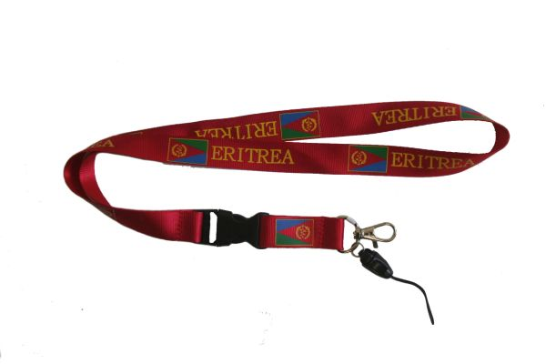 "ERITREA COUNTRY FLAG LANYARD KEYCHAIN PASSHOLDER NECKSTRAP .. CLASP AT THE END .. 20"" INCHES LONG .. HIGH QUALITY .. NEW"