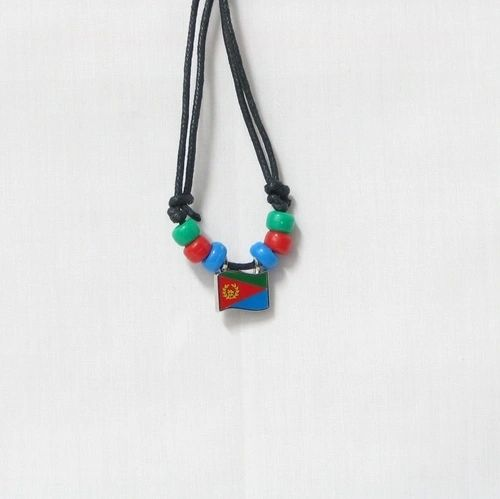 ERITREA COUNTRY FLAG SMALL METAL NECKLACE CHOKER .. NEW AND IN A PACKAGE