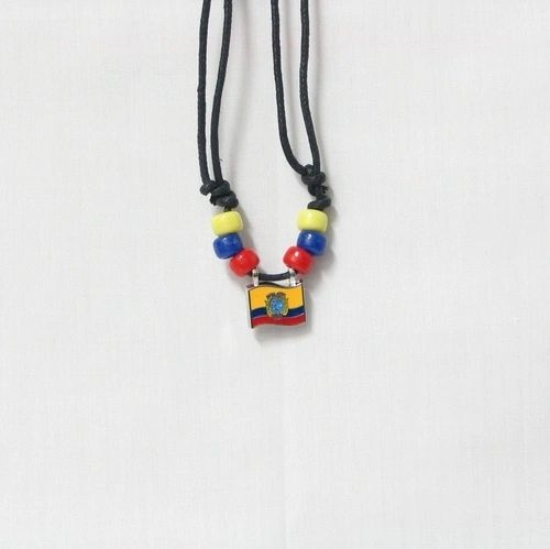 ECUADOR COUNTRY FLAG SMALL METAL NECKLACE CHOKER .. NEW AND IN A PACKAGE