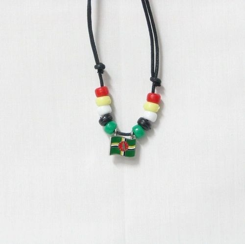 DOMINICA COUNTRY FLAG SMALL METAL NECKLACE CHOKER .. NEW AND IN A PACKAGE