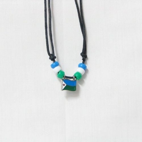 DJIBOUTI COUNTRY FLAG SMALL METAL NECKLACE CHOKER .. NEW AND IN A PACKAGE