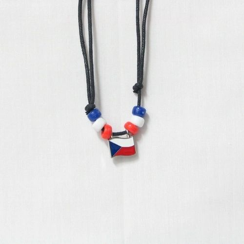 CZECH REPUBLIC COUNTRY FLAG SMALL METAL NECKLACE CHOKER .. NEW AND IN A PACKAGE