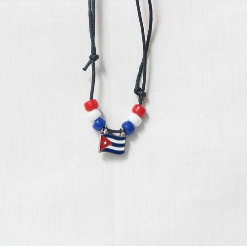 CUBA COUNTRY FLAG SMALL METAL NECKLACE CHOKER .. NEW AND IN A PACKAGE