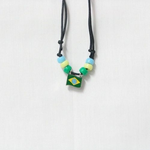 BRASIL COUNTRY FLAG SMALL METAL NECKLACE CHOKER .. NEW AND IN A PACKAGE