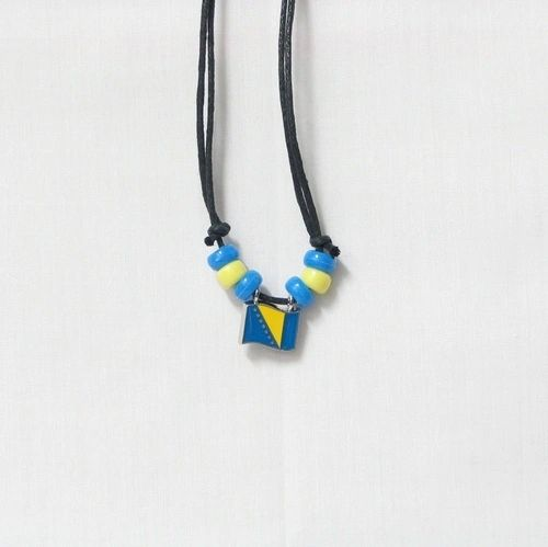 BOSNIA & HERZEGOVINA COUNTRY FLAG SMALL METAL NECKLACE CHOKER .. NEW AND IN A PACKAGE