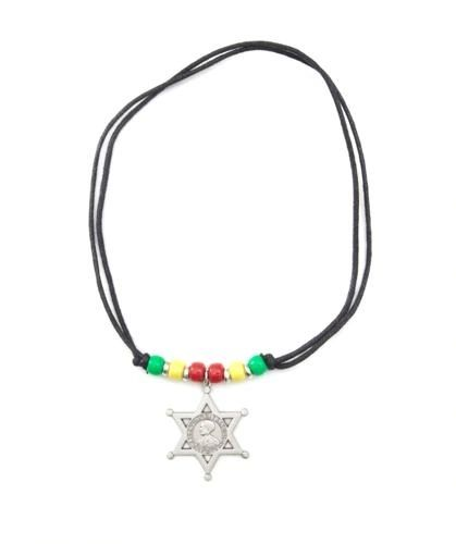 ETHIOPIA SILVER STAR COUNTRY FLAG SMALL METAL NECKLACE CHOKER .. NEW AND IN A PACKAGE