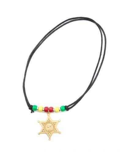 ETHIOPIA STAR COUNTRY FLAG SMALL METAL NECKLACE CHOKER .. NEW AND IN A PACKAGE